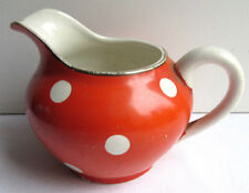French red ceramic with white dots Milk Jug signed Sarreguemines model Confetti