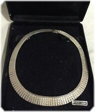 Vintage Cleopatra-style Sterling Silver Collar Necklace 16""