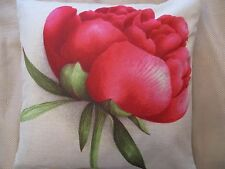 Red & Green Flower  Cotton Linen Canvas Cushion Cover 43 x 43 cm FREEPOST
