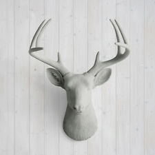 Wall Charmers Deer in Gray Faux Head Fake Animal Ceramic Taxidermy Antler Mount