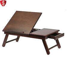 Foldable Laptop Table Tray Desk Bed Wood Notebook Adjustable Stand Width Bo