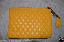 Marciano guess Quilted Leather Purse Clutch  evening bag Wristlet Yellow Smalll