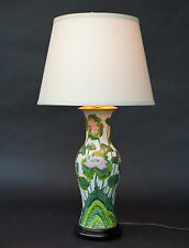Lovely Vintage Chinese Shanghai Hand Painted Porcelain Lotus Design Table Lamp