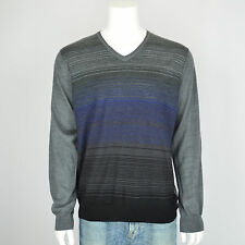 NWT CALVIN KLEIN Merino Wool Blend Gray Striped V-Neck Pullover Sweater Sz XXL