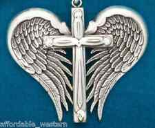 Crystal Cowgirl ~ANGEL WINGS CROSS ~ Pendant Silver