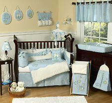 Designer Blue White Sea Ocean Fish Theme 9pc Baby Boy Crib Bedding Comforter Set