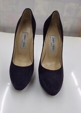 JIMMY CHOO 'ALEX' ACETATE HEEL SUEDE PLATFORM PUMPS PURPLE/39m m01