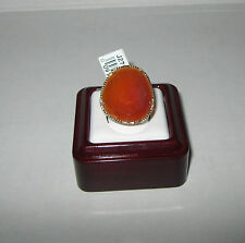 QVC 14k Yellow Gold Table Cut Organic Shape Chalcedony Ring Size 7 $318