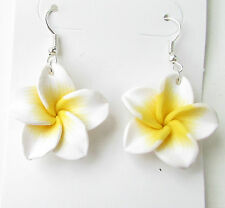 White Yellow Plumeria Flower Earrings Drop Rockabilly Frangipani Hawaiian 50s 53