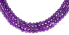 """15.5"""" Natural Amethyst Faceted Round Beads 6mm #55019"""