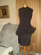 STRAPLESS LILLIE RUBIN BEADED LACE RUFFLE  BLACK PARTY COCKTAIL MINI DRESS SZ S