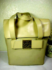 Vintage Nina RICCI Bone White Coated Canvas & Leather Small Tote Bag France