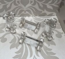 Set Of 4 Heavy French Glass Knife Rests
