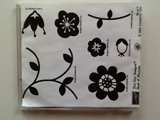 Stampin Up Retired  **  Buds & Blossoms  ** Clear Mount Stamp Set