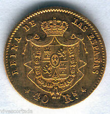 Isabel II 40 Reali 1864 Madrid Oro @ Bella @