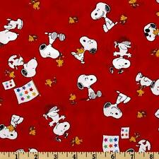 """Peanut Project Linus Snoopy & Woodstock Red 100% cotton 44"""" fabric by the yard"""
