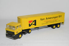 LION CAR DAF 2800 TRUCK WITH TRAILER VAN AMERONGEN BV YELLOW EXCELLENT CONDITION