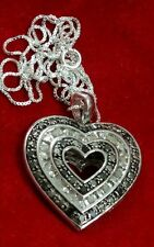 NEW STERLING SILVER 2 CARAT CT REVERSIBLE BLACK & WHITE DIAMOND HEART NECKLACE