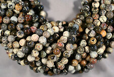 "DIVERSE SILVER LEAF JASPER 10MM ROUND BEADS 16"" PETRIFIED WOOD"
