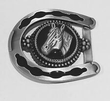 New Western Belt Buckle Western Cowboy HORSE SHOE Rodeo Pewter
