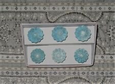 6 Aphorism Iridescent Floral Glass Drawer Pulls Knobs Handles Blue NEW NIB