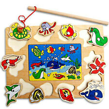 New Wooden Magnetic Fishing Game & Jigsaw Puzzle Board Baby Children Toy Gift
