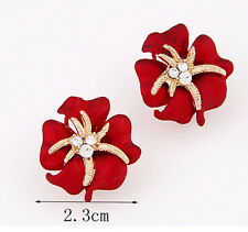 Hot Fashion Womens Gold Plated Starfish Flower with Stud Big Earrings Rhinestone