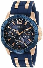 GUESS Men's Blue Multi-Function Steel Sport Watch Fancy Rose Gold U0366G4