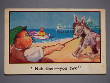 R&L Postcard: Comic, Flat Cap Man Pulling Donkey, Pier, Northerners