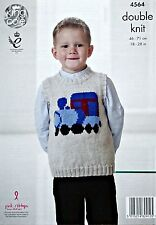 KNITTING PATTERN Boys Sleeveless  Round Neck Train Jumper DK King Cole 4564