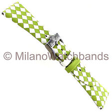 26mm Glam Rock High Quality Hand Made Braided Calf Leather Lime&White Watch Band