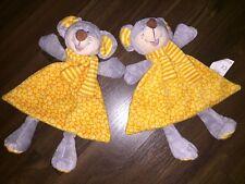 1 Stück - KIK Schmusetuch Kuscheltuch Rassel Kopf Maus Orange Gelb Kleid Grau