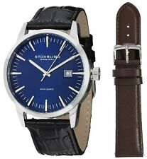Stuhrling 555A 04 Men's Classic Ascot II  Swiss Quartz Date Blue Dial Watch
