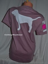 Victoria's Secret PINK Shirt Dog Logo Campus V Neck Pocket Tee Top XS XSmall NEW