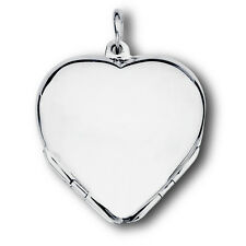 Gorgeous High Polish Sterling Silver Heart Locket Pendant OPENS Holds 4 Photos