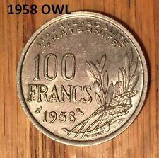 2 COIN SET FRANCE 1958 O (OWL) +1958 W VERY HIGH GRADE  100 FRANCS RARE 1533