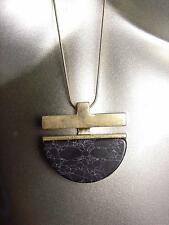 "STYLISH Black Marble Stone Brass Pendant 30"" Long Gold Snake Chain Necklace"