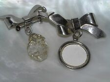 Vintage Lot of 2 Silvertone Ribbon Bow w Picture Frame or Clear Crystal Nugget