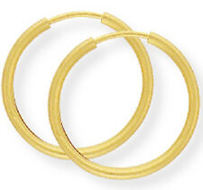 New Boxed Ladies 9ct Yellow Gold Sleeper Hoops Earrings 20mm Hallmarked (h)