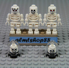 LEGO - 3x Skeleton Minifigure Lot w/ Skulls Brain Jar - Head Monster Evil Clear