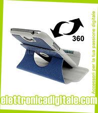 CUSTODIA Cover eco PELLE BLU SOSTEGNO Stand 360° x SAMSUNG Galaxy NOTE 2 N7100