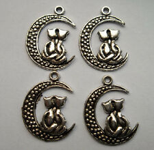 15pcs Tibetan silver alloy moon cat charms pendant 26.5x20 mm