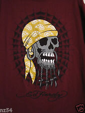 Ed Hardy Skull Pirate Gold Do Rag Maroon Crew Neck Medium Basic T Shirt EUC