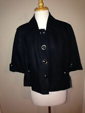 NWT Nygard Collection Black Fully Lined Cropped Linen Blend Jacket/Blazer Sz 14