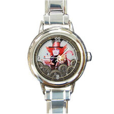 Mad Hatter Alice Through The Looking Glass (Round Italian Charm  wristwatch)