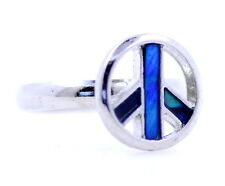 Adjustable silver and blue peace sign ring