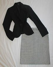 EXPRESS Size 4 Women's Skirt Suit Black & Ivory PERFECT!