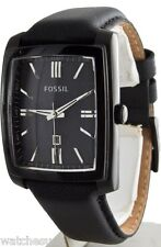 Fossil  Men's Black Ion Plated Stainless Steel Case Leather Watch Date FS4765