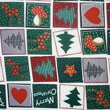 Cream 100% Cotton Fabric Green Red Gold Christmas Patchwork Print *Per Metre