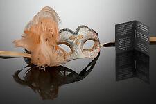 kleine original venezianische Maske mit Federn Karneval, Maskenball, Augenmaske